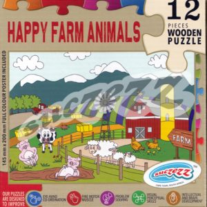 happy farm animals wooden puzzle