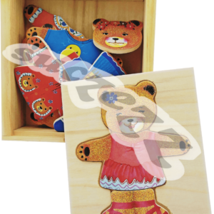 Bear construction puzzle girl